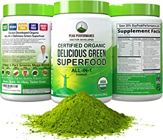 Peak Performance Organic Greens Superfood Powder. Best Tasting Organic Green Juice Vegan Super Food with 25+ All Natural I...