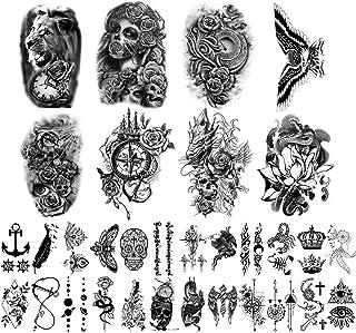 برچسب های خال کوبی موقت Yazhiji 32 برگ ، خال کوبی شانه سینه بازوی بدن 8 ورقه ای برای زنان با 24 برگ خال کوبی موقت سیاه و سفید