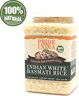 Pride Of India - Extra Long Indian Basmati Rice, Naturally Aged Aromatic Grain, 2.2 Pound (1 Kilo) Jar + EXTRA 50% PRODUCT FREE ( 1 KG + 0.50 KG FREE = 1.50 KG (3.30 LBS) RICE