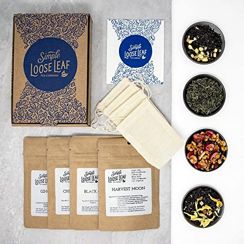 Simple Loose Leaf Tea  Curated Exploration of 4 Loose Leaf Tea Premium Blends  Hand packaged Tea Subscription Box: Sampler