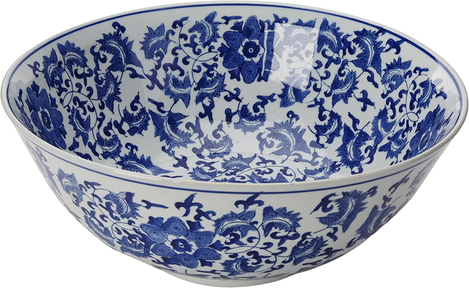 Oriental Furniture 14  Floral bluee & White Porcelain Bowl