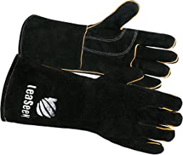 LeaSeeK Leather Barbecue Gloves Heat Resistant & Flame Retardant Welding Gloves &..