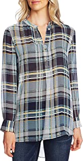 Vince Camuto Womens Plaid Band Collar Tunic Top Blue S