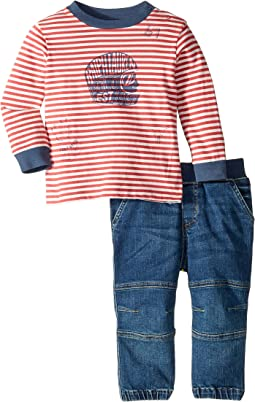 Striped T-Shirt and Jeans Jogger Set (Infant)