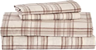 Stone & Beam Rustic 100% Cotton Plaid Flannel Bed Sheet Set, Easy Care, King, Ivory and Cream