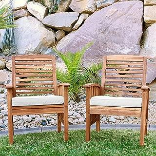 Walker Edison Furniture Company Solid Acacia Wood Patio Chairs (Set of 2) - Brown (Renewed)