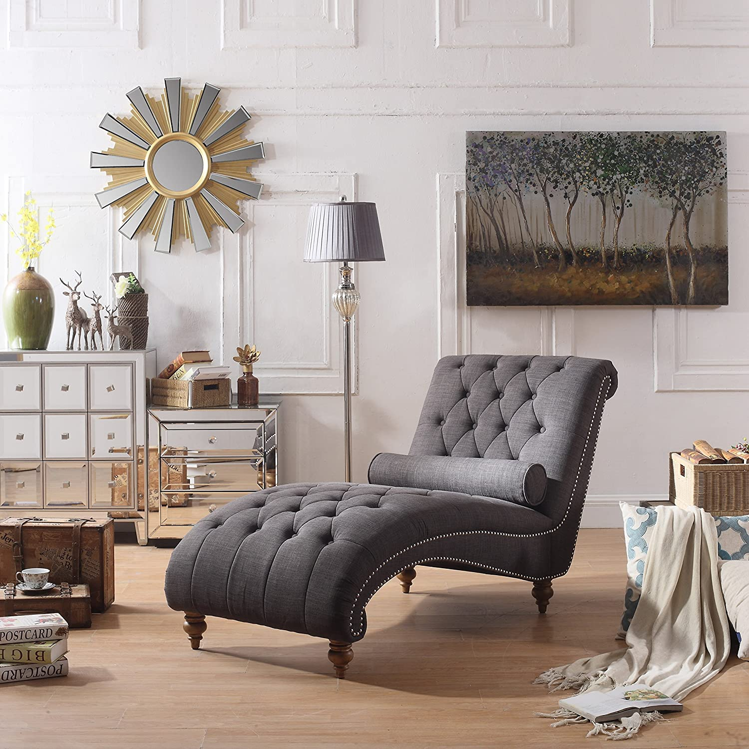 Rosevera Teofila Credence Tufted Chaise Standard Lounge Chair Charcoal High quality new