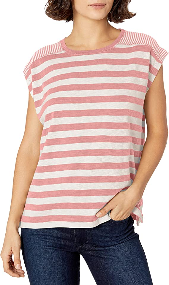 Chaps Womens Petite Long Sleeve Striped Stretch Cotton Knit Top