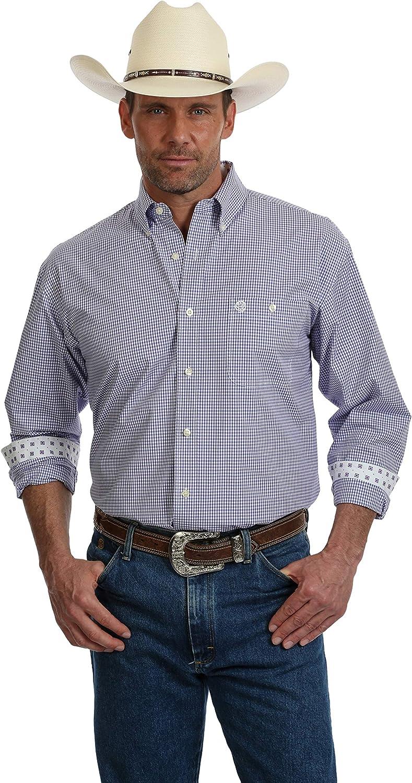 Wrangler Men's George Strait Big and Tall Long Sleeve, One Pocket Button-Down Purple/White Mini Plaid Shirt, MGSP618
