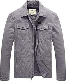 WenVen Men`s Washed Cotton Military Jackets Outerwear