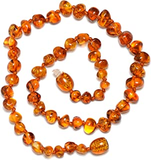 Baltic Amber Teething Necklace for Baby with Cognac Amber Beads - Natural Pain Relief - Certified Amber - Safety Knotted - Highest Quality Jewelry for Your Kid (Cognac - 13.5