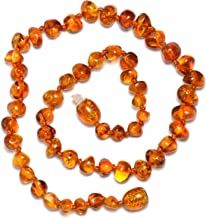 """Baltic Amber Teething Necklace for Baby with Cognac Amber Beads - Natural Pain Relief - Certified Amber - Safety Knotted - Highest Quality Jewelry for Your Kid (Cognac - 13.5"""") dark cherry"""