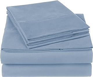 Amazon Brand – Pinzon 300 Thread Count Organic Cotton Bed Sheet Set - California King, Flint Blue