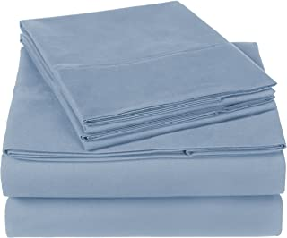 Pinzon 300 Thread Count Organic Cotton Bed Sheet Set, King, Flint Blue