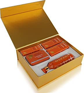 Makari Extreme Carrot & Argan Oil Skin Toning Gift Set – Complete Lightening, Brightening & Tightening Regimen with 16.8oz Body Milk, 1.7oz Cream, 1.7oz Serum, 1.0oz Gel & 7oz. & Exfoliating Soap