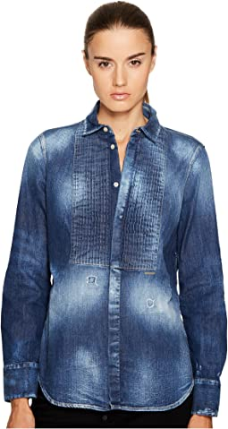 Stretch Denim Shirt with Bib Detail