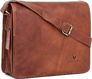 WILDHORN Men's India Leather 13 inches Vintage Messenger Bag (Brown)