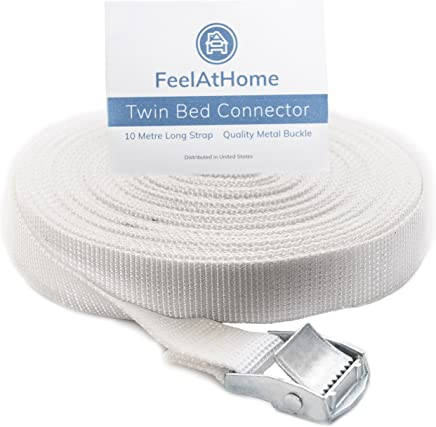 FeelAtHome Strap for Twin Beds - Twin to King Bed Strap - Twin Bed Connector for Converting Twin to King or Twin XL to King – 33ft Long Bed Connector Strap with Metal Buckle - Twin Bed Joiner (White)