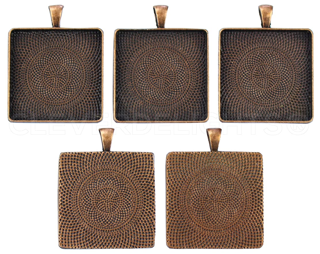 20 Square Pendant Trays - Antique Copper Color - 1 3/16 Inch - 30mm - Pendant Blanks Base Cameo Bezel Settings Photo Jewelry - Custom Jewelry Making - 1 3/16