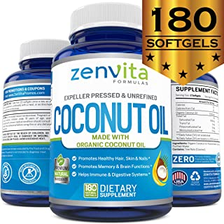 Organic Coconut Oil - 180 Softgels, 1000 mg Per Softgel, Coconut Oil Capsules Made with Certified Organic Extra Virgin Coconut Oil. Cold Pressed and Unrefined. Natural Energy Source