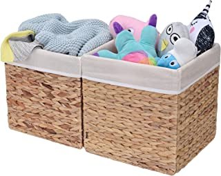 StorageWorks Rectangular Wicker Storage Baskets, Water Hyacinth Basket with Lining, Medium Baskets for Cube Storage, 10.2