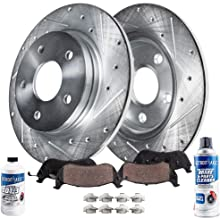 Detroit Axle - Pair (2) Rear Drilled and Slotted Disc Brake Rotors w/Ceramic Pads w/Hardware & Brake Cleaner & Fluid for 2006 2007 2008 2009 2010 Ford Explorer/Explorer Sport Trac/Mountaineer