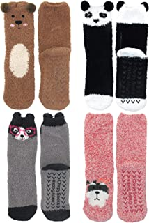 Super Soft Warm Cute Furry Animal Non-Slip Fuzzy Cozy Fluffy Crew Winter Home Socks, 3,4 or 8 Pairs