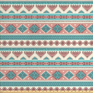 Ambesonne Tribal Fabric by The Yard, Vintage Design Native Style Geometric Triangles Print, Decorative Fabric for Upholstery and Home Accents, 1 Yard, Peach Cream