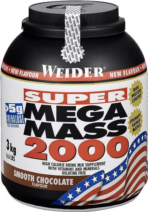 Proteine per massa muscolare weider super mega mass 2000, cioccolato, 3 kg 32817