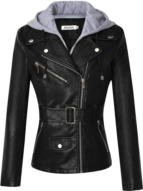 Jhichic Women's Motorcycle Belted Faux Leather Jacket Detachable Hooded PU Biker Coat Outerwear (XS-2XL)