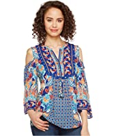 Hale Bob - Sunshine Daze Rayon Dot Woven Cold Shoulder Top