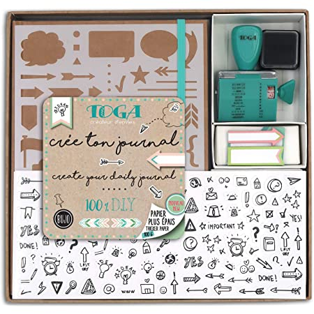 Draeger by Toga - Kit Bullet Journal - Kit Complet pour Créer son premier Bullet Journal - 1 Cahier à Petits Pois + 1 Pochoir + 2 Planches de Mini Stickers + 1 Tampon à Molette avec Encreur Noir