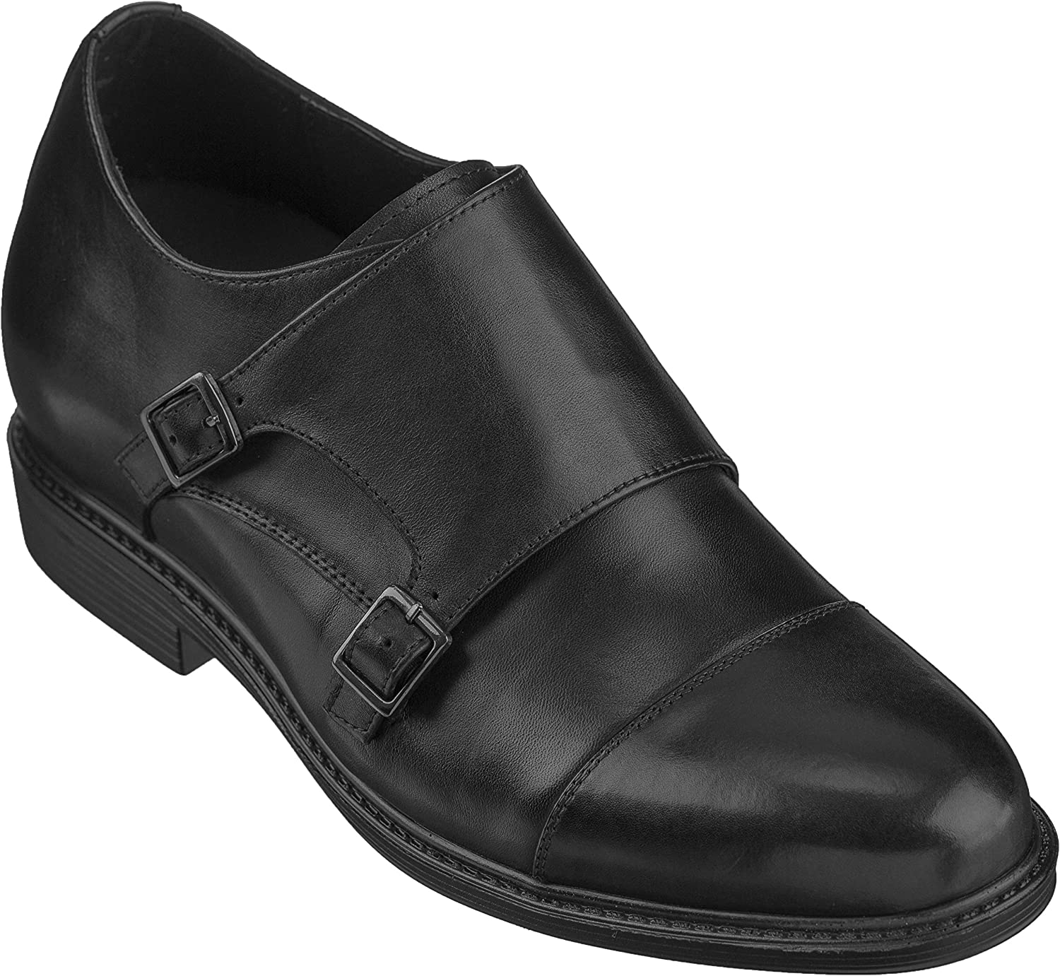 CALTO Men's Invisible Height Increasing Elevator shoes - Black Premium Leather Lace-up Formal Loafers - 3 Inches Taller - T5325