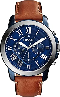 Fossil Men's Grant Quartz Stainless Steel and Leather...