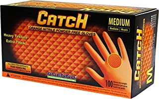 Adenna Catch 8 mil Nitrile Powder Free Gloves (Orange, Medium) Box of 100