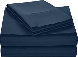 AmazonBasics Light-Weight Microfiber Sheet Set - King, Navy Blue