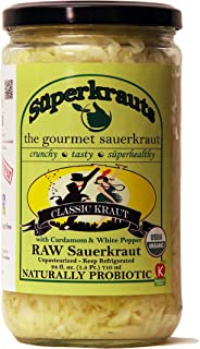 """Classic"" gourmet sauerkraut: organic, raw fermented, unpasteurized, probiotic, kosher, vegan and gluten free. 24 fl. oz., 16 flavors available. No shipping charges with minimum."