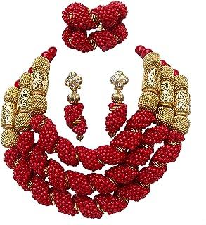 PrestigeApplause - Parure di gioielli da sposa stile africano nigeriano con 3file di perline rosse