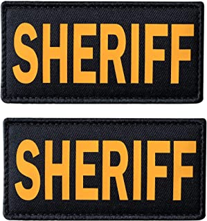 SUVIYA 4x2 Inch Golden Yellow Sheriff Patch with Hook and Loop Police Patch(2 Pack)