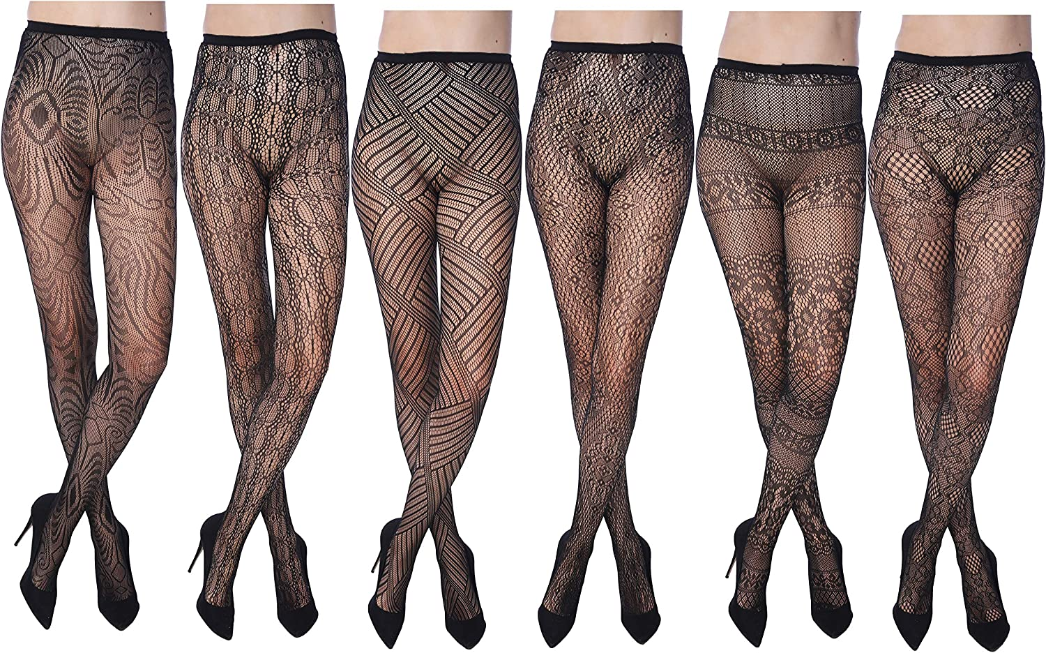 Frenchic Women's Fishnet Lace Stockings Tights Sexy Pantyhose Plus Sizes (Pack of 6)