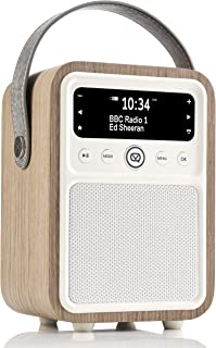 VQ Monty DAB/DAB+ Digital Radio with FM, Bluetooth and Alarm Clock - Real Wood Case Green Grass Oak
