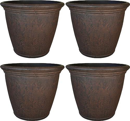 popular Sunnydaze Anjelica Flower 2021 Pot Planter, Outdoor/Indoor Unbreakable Double-Walled Polyresin with UV-Resistant outlet online sale Rust Finish, Set of 4, 16-inch Diameter outlet online sale