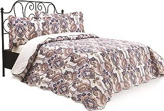 Chiara Rose 3 Piece Reversible Quilt Set Bedspread Coverlet Lightweight Comforter Full Queen PSLY