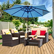 LayinSun 4 Piece Outdoor Patio Furniture Sets, Wicker Rattan Patio Conversation Sets Outdoor Sectional Sofa Chair with Cus...