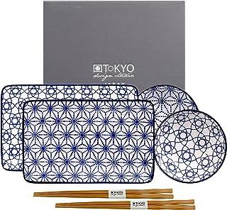 TOKYO design studio Nippon Blue Sushi-Set blau-weiß, 6-TLG,