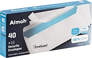 40 #10 Security Tinted Self-Seal Envelopes - No Window, EnveGuard, Size 4-1/8 X 9-1/2 Inches - White - 24 LB - 40 Count (3...