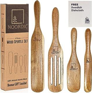 NOORDIC Wooden Spurtle Set with BONUS GIFT | 4-Piece Natural Acacia Wood Spurtles Kitchen Tools | Large + Slotted + Medium...