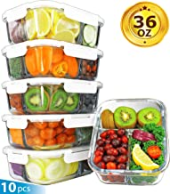 [36oz, 5-Pack Premium] Glass Meal Prep Containers 3 Compartment Set- Food Lunch Storage-..