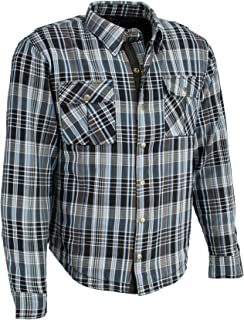 Milwaukee Performance Men's Flannel Biker Shirt With Aramid (Black/White/Blue, L)