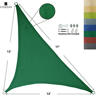 LyShade 12' x 12' x 17' Right Triangle Sun Shade Sail Canopy with Stainless Steel Hardware Kit (Dark Green) - UV Block for Patio and Outdoor